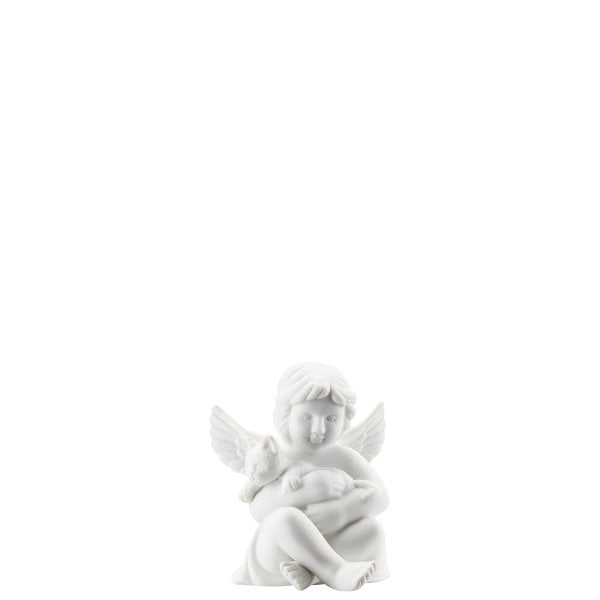 Angel with cat Angel small White-mat