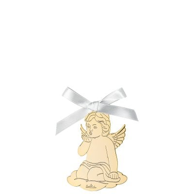 Pendant Angel kiss on hand 8,5x6 cm Silver Collection Angels Gold