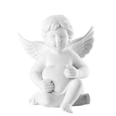 Angel with heart 14,5 cm Angel big White-mat