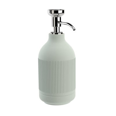 Free standing soap dispenser Equilibrium Ribs Celadon mat Chrome