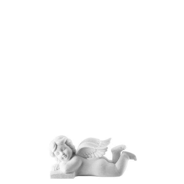 Angel lying with book 4 cm Angel small White-mat