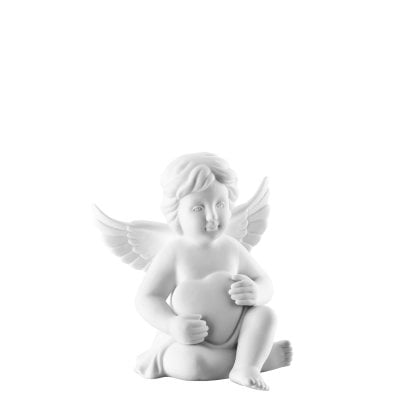 Angel with heart 10 cm Angel middle White-mat