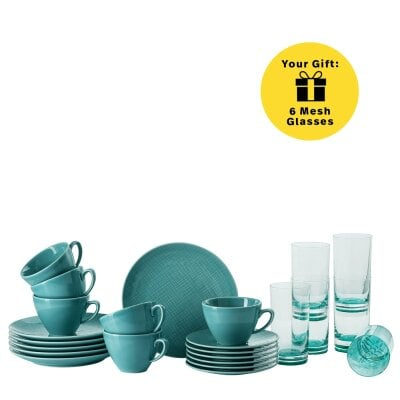 Set 18 pcs./combi c&s+glass Mesh Colours Aqua