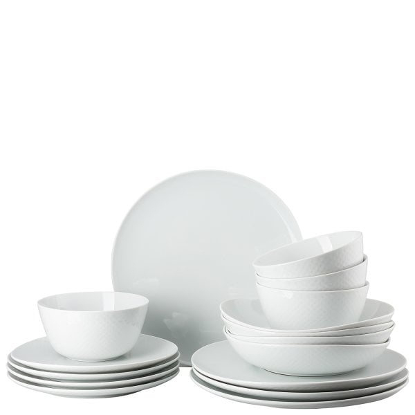 Set 16 pcs. with cereal bowls Junto White