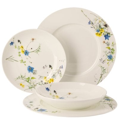 Set 4 pcs. with rim and coupe plates Brillance Fleurs des Alpes