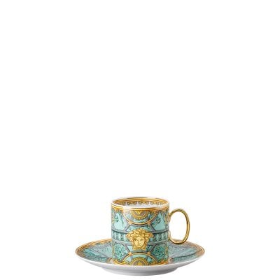 Cup & saucer 4 tall Versace Scala Palazzo Verde