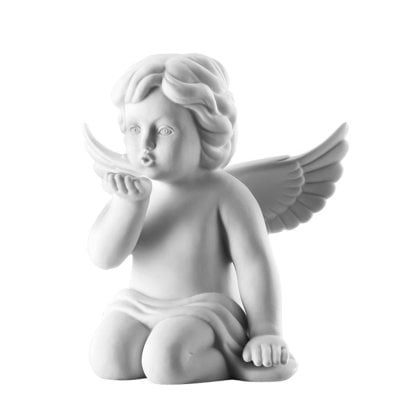 Angel kissing hand 14 cm Angel big White-mat