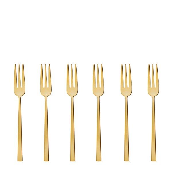 Set 6 Cake fork Rock Stainless steel/PVD Gold