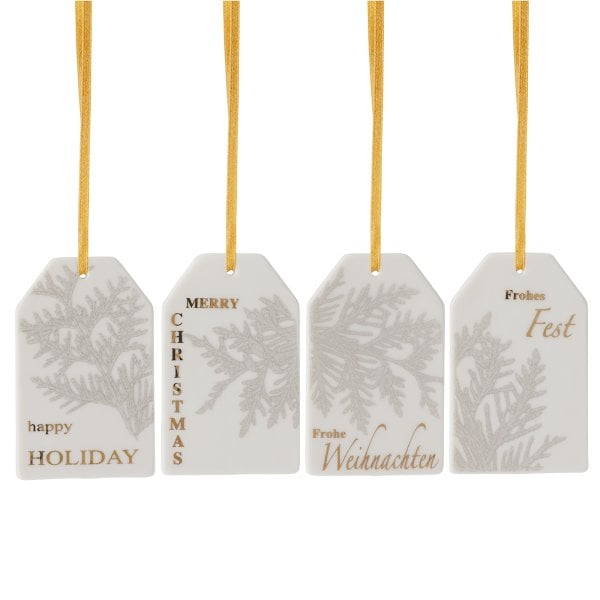 Set 4 pendenti a punte Merry Christmas Charming grey-Thuja