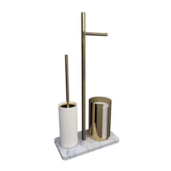 Free standing toilet brush/paper holder Equilibrium Hexagon White mat Gold