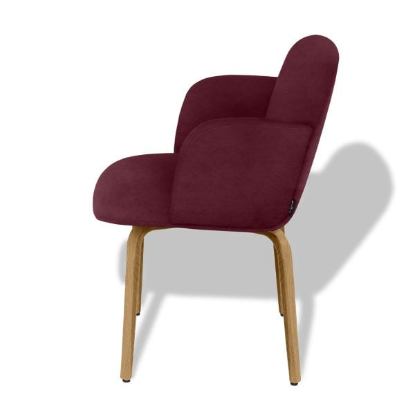 Chair with armrests BOLBO Wine Red Fabric
