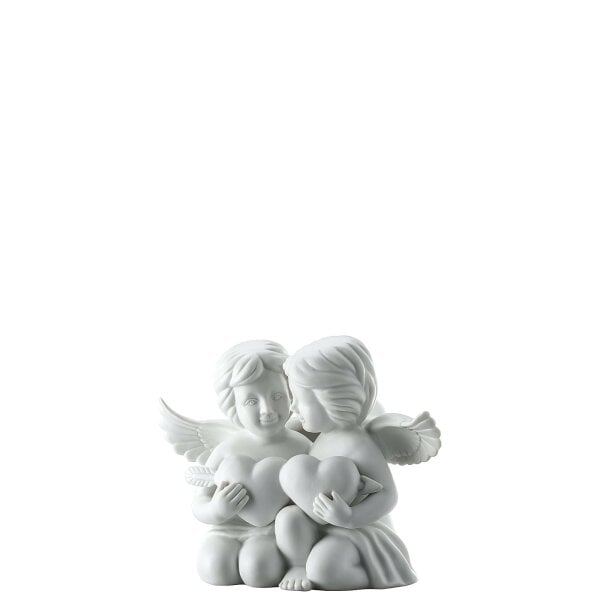 Pair of angels with heart Engel gross White-mat