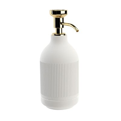 Free standing soap dispenser Equilibrium Ribs White mat Gold