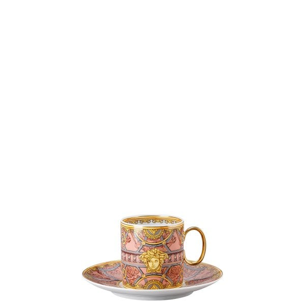 Cup & saucer 4 tall Versace Scala Palazzo Rosa