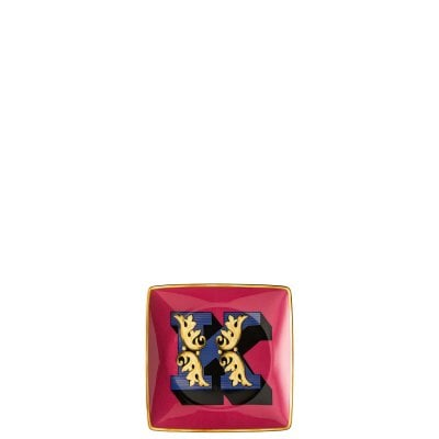 Bowl 12 cm square flat Versace Holiday Alphabet K