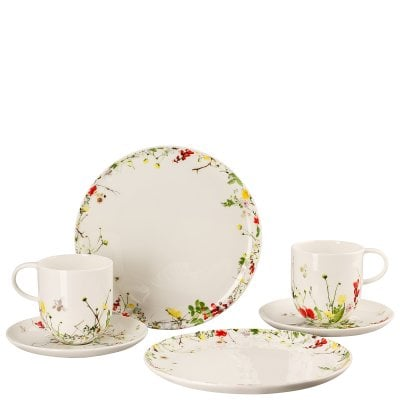 Set 6 pcs. with mugs and coup plates Brillance Fleurs Sauvages