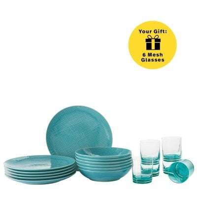 Set 12 pcs./assiette+verre Mesh Colours Aqua