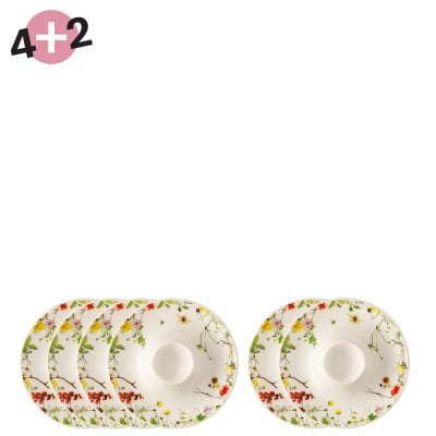 4 + 2 set Egg cup with deposit Brillance Fleurs Sauvages