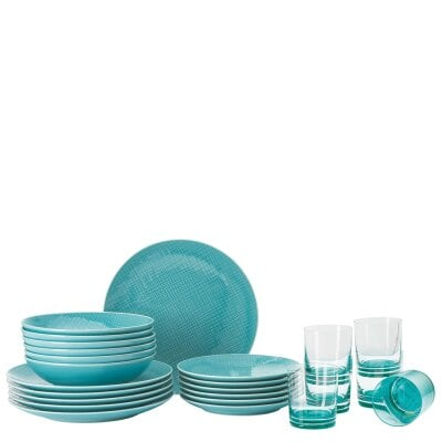 Set 18-tlg./Teller+Glas Mesh Colours Aqua