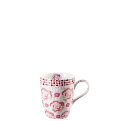 Mug with handle Lots of dots Pink meadow