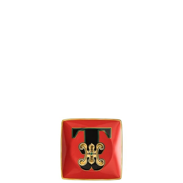 Bowl 12 cm square flat Versace Holiday Alphabet T