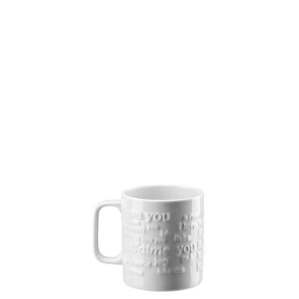 Mug with handle large Love Love White
