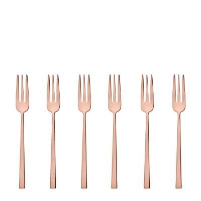 Set 6 Cake fork Rock Stainless steel/PVD Copper