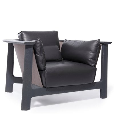 Armchair BAY Greying/Black Fabric/Leather