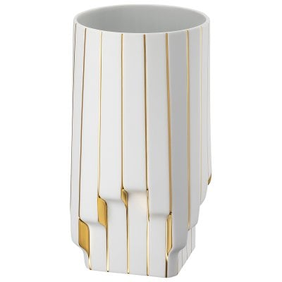 Vase 30 cm Strip White - gold