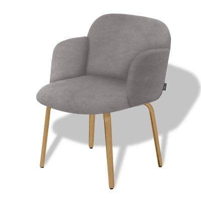 Chair with armrests BOLBO Elephant Grey Fabric