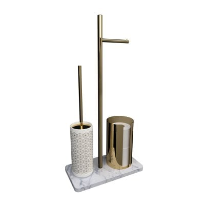 Free standing toilet brush/paper holder Equilibrium Circles White Gold