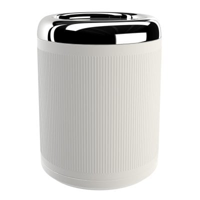 Waste bin Equilibrium Ribs White mat Chrome