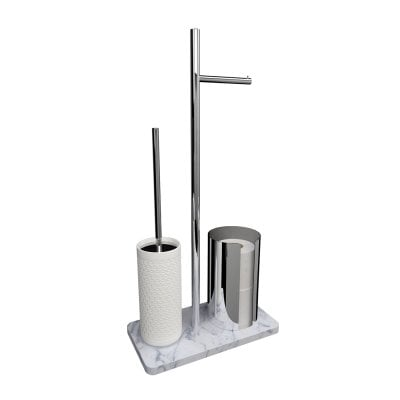 Free standing toilet brush/paper holder Equilibrium Hexagon White mat Chrome