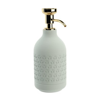 Free standing soap dispenser Equilibrium Hexagon Celadon mat Gold