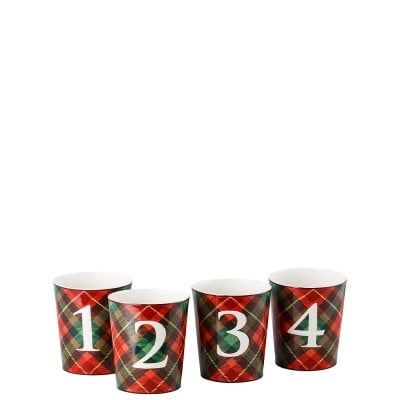 Set of 4 tablelights Cozy Winter Tartan