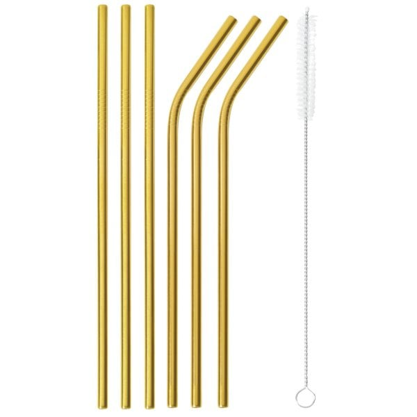 Set 6 pcs straws with brush Mix + Play Edelstahl/PVD Gold