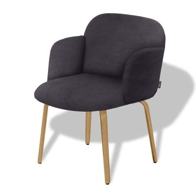 Chair with armrests BOLBO Asphalt Grey Fabric