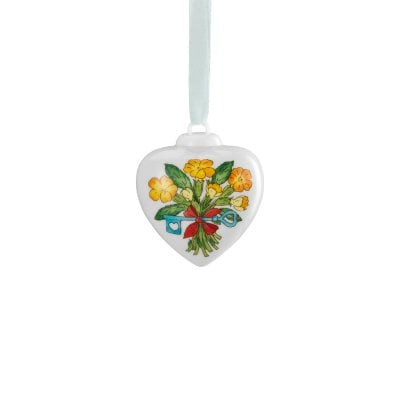Porcelain mini-heart Spring greetings Schlüsselblume