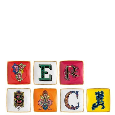 Set 7 bowl 12 cm square flat Versace Holiday Alphabet