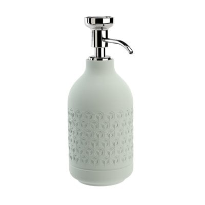 Free standing soap dispenser Equilibrium Hexagon Celadon mat Chrome