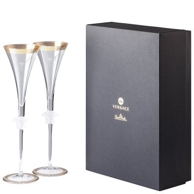 Gb 2 champagne flute Versace Medusa d'Or