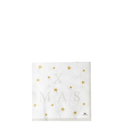 Serviette 33 x 33 cm / 20 pieces Merry Christmas Charm. grey - Xmas