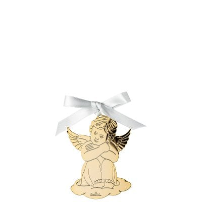 Pendant Angel sitting 8,5x6 cm Silver Collection Angels Gold