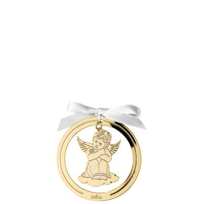 Pendant Angel sitting 8 cm Silver Collection Angels Gold