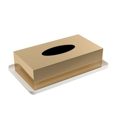 Tissue box Equilibrium White mat Gold