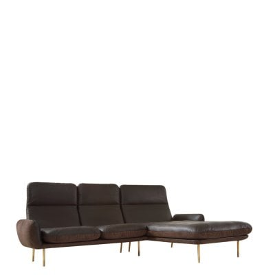 Sitzgruppe UP & DOWN Dark Brown Stoff/Leder