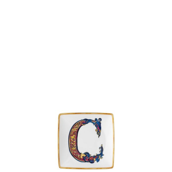 Bowl 12 cm square flat Versace Holiday Alphabet C