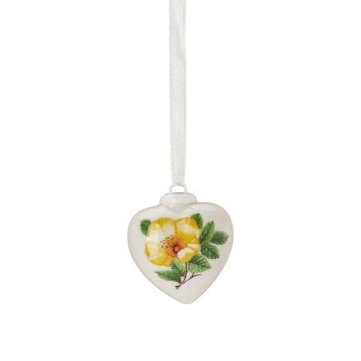 Porcelain mini-heart Spring greetings Heckenrose - gelb