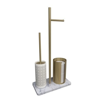 Free standing toilet brush/paper holder Equilibrium Circles White Bronze