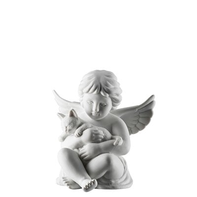 Angel with cat Angel middle White-mat